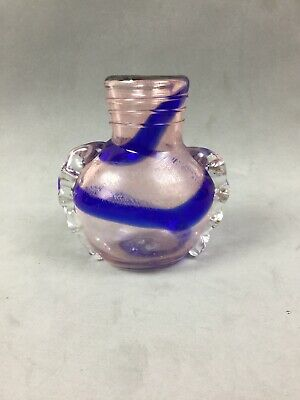 Very Old Antique Venitian Late Roman Glass Cobalt Swirl Etched Perfume Bottle