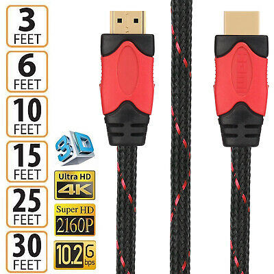 Premium HDMI Cable 1.4v Gold Plated 3D Braided Audio Ethernet 3FT-30FT for HDTV