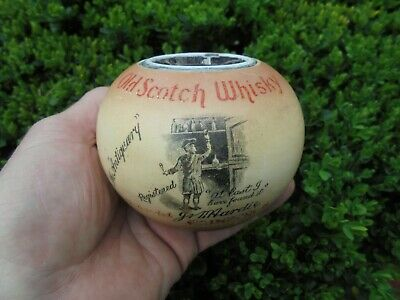 ANTIQUARY OLD SCOTCH WHISKY BAR ADVERTISING MATCH HOLDER INKWELL c1910