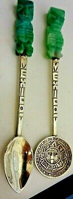 Set of Two Mexican Spoons - 850 Silver Carved Aventurine Handles Collectible