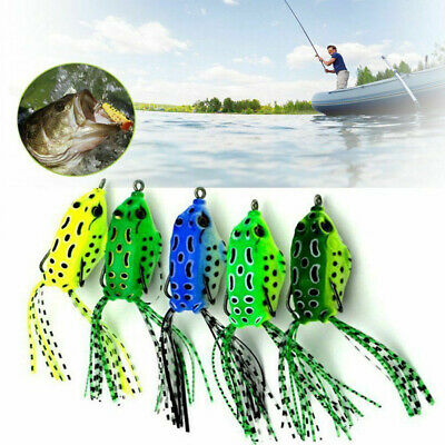 Artificial Frog Fishing Lure Crankbait Soft Tackle Crank Bait Bass Topwater 1PC
