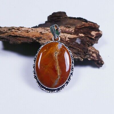 Lovely Offer !! Natural Plum Root Agate Gemstone Silver Plated Fancy Pendant #11