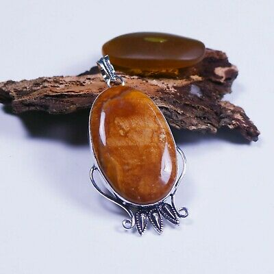 Lovely !! Natural Red Plum Root Agate Gemstone Silver Plated Fancy Pendant #22