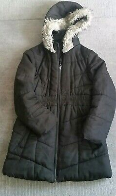 Debenhams Girls Black Hooded Winter Jacket Age 9/10