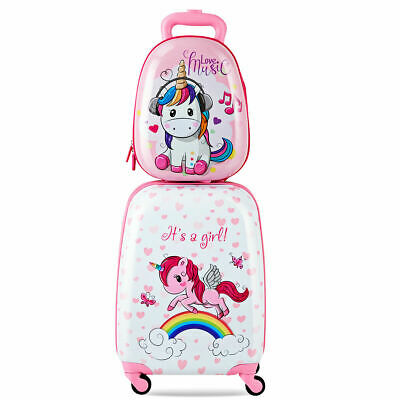 2PC Kids Luggage 12'' Backpack & 16'' Rolling Suitcase Child School Travel ABS
