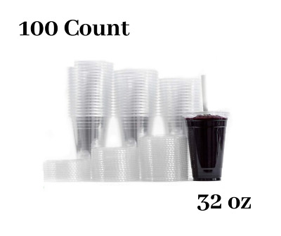 Large Clear Plastic Disposable Cups with Lids & Straws 100 count - 32 oz