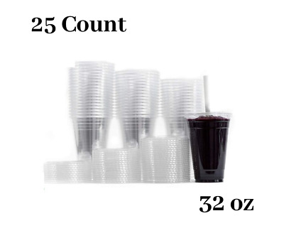 Large Clear Plastic Disposable Cups with Lids & Straws 25 count - 32 oz