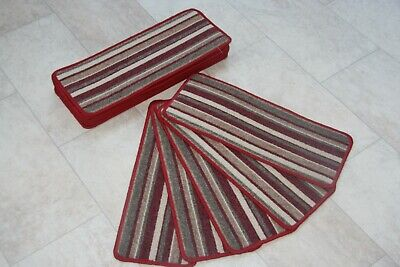 14 Stair Case Treads Pad Bolero Red Stripe Pads! Red Large Stripe Stair Pads