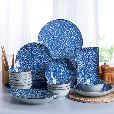 16pcs Grey Blue Dinnerware Set Round Ceramic Stoneware Serving Plates Bowls Cups