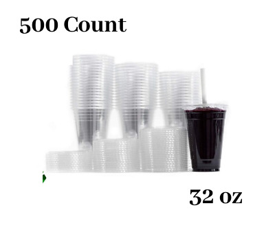 Large Clear Plastic Disposable Cups with Lids & Straws 500 count - 32 oz