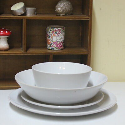 Ceramic Dinnerware Set of 4 White Stoneware Serving Plate Bowl Dining Tableware