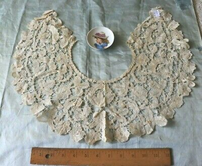 """Antique French Handmade Floral Lace Collar~33""""X6""""~Fine Linen~Bridal"""