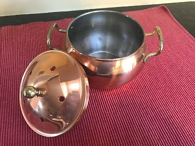 Beautiful VTG gilded copper bowl with lid and brass accents