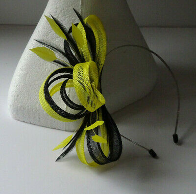 Yellow/black fascinator on headband for wedding/mother of the bride/cocktail