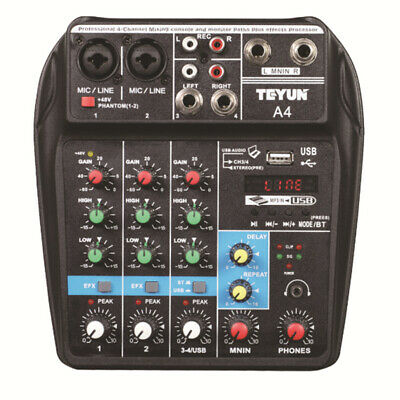 Teyun A4 4 Channel bluetooth 4.0 Audio Mixer Mixing Console Sound Card 48V Phan