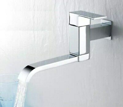 Chrome Cold Water Faucet Wall Mounted Single Handle Solid Brass Swing Tub Tap