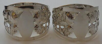 Boxed Pair English Rose 1910 Hallmarked Solid Silver Napkin Rings Serviette Ring