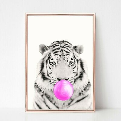 TIGER print PICTURE  BUBBLEGUM WALL ART A4  unframed 25 ANIMAL PORTRAIT