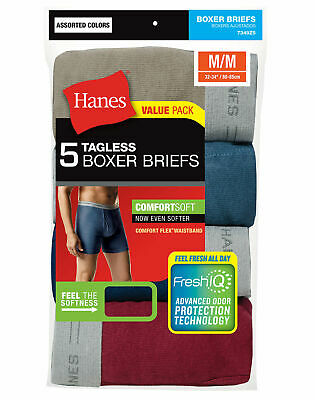 Hanes 5 Pack Men's Underwear Tagless Boxer Briefs Assorted Colors & Bands
