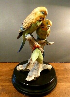 Kaiser Parakeets Figurine (Budgerigars) made in Germany- Vintage- Rare