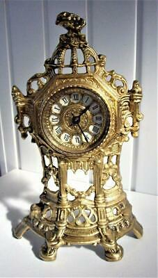 Ornate Brass 8-Day Mantel Clock - Working Well