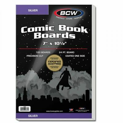 100 BCW Silver Comic Backing Boards Precision Cut 7x10 1/2 Coated Acid Free NEW