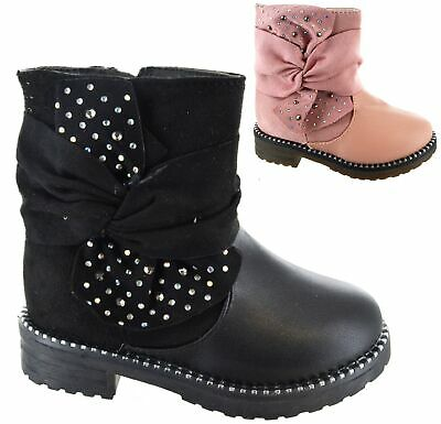 Girls Childrens Infants Warm Winter Boots Kids Faux Fur Lined Studded Shoes Size