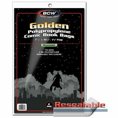 100 BCW Resealable Golden Age Comic Book 2 Mil Poly Bags Acid Free Safe Storage
