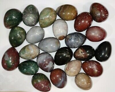 Lot of 5 Agate Multi Stone Eggs Tourmaline Japser Green Yellow Agate Reiki