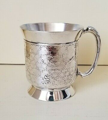 Antique Victorian Wilcox Quadruple Silverplate Cup Floral With Bugs Lizard