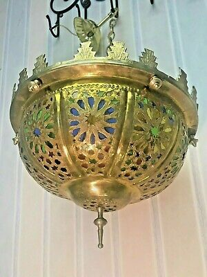 Vintage RARE Brass Moroccan Moorish Colored Stained Glass Light Lamp Chandelier