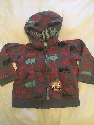 Monsoon Zipped Hooded Top Hoodie, Grey With London Taxis And Buses, 3-4 Years