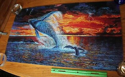Robert Lyn Nelson ELECTRICITY II Hand Signed Lithograph 18 x 31 Humpback Whales