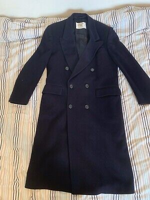 Genuine CROMBIE Navy Wool Double Breasted Long Overcoat Chest 40