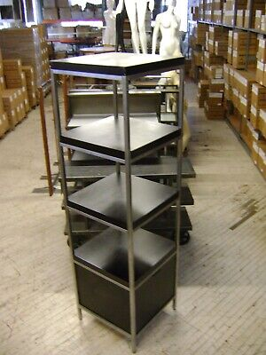 Retail Black And Chrome Square Shelving Display With Drawer