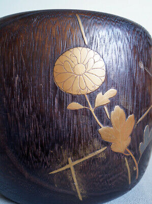 """15cm(5.9"""") Height Japanese Antique Wooden Paulownia Gold Lacquer Makie Brazier"""