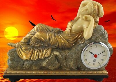 Table Clock Travel Watch Mantel Polystone EOS Gold Coloured Mantle Woman