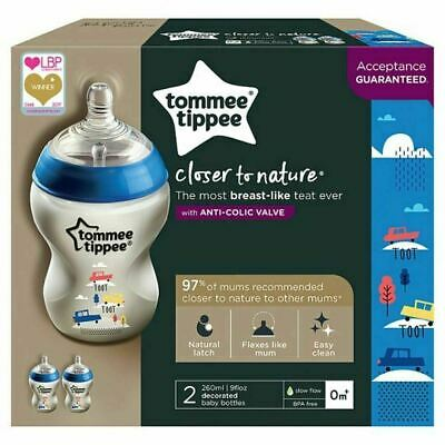 Tommee Tippee Closer To Nature 2 260ml Decorated Baby Feeding Bottles Newborn +