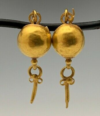 Ancient Roman-Byzantine Gold Shield Earrings; Charming Pair!