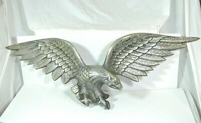 """Vintage Large Silver tone American Eagle Wall Hanging Decor 38"""" Wing Span"""