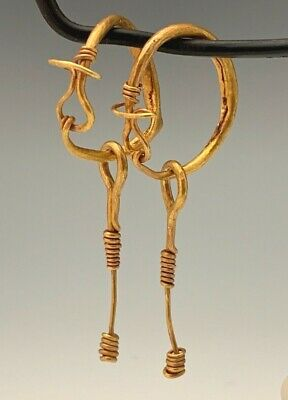 Ancient Roman-Byzantine Gold Hoop Earrings With Dangles; Heavy Pair!
