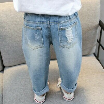 Spring Autumn New Hole Jeans Girl Pants Denim Pants Jeans Girls Ripped Jeans