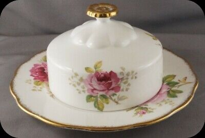 Royal Albert American Beauty Covered Butter Dish