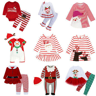 Xmas Christmas Toddler Baby Kids Boys Girls Long-Sleeve Romper Dress Outfits