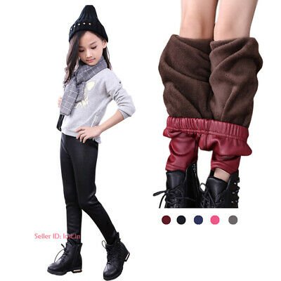 Kids Girls Warm Leather Leggings Fleece Lined Pants Stretch Thermal Trousers