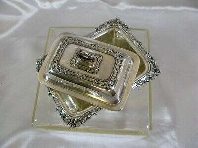 """Antique English Silver Plate Small Butter Dish 4.5""""L"""