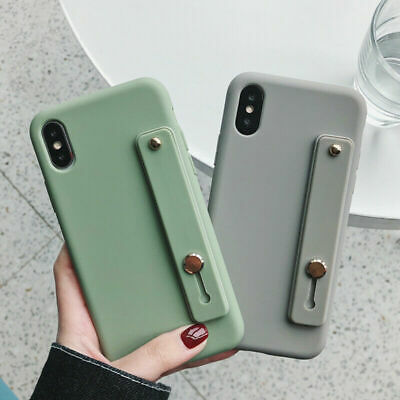 iPhone 11 Pro MAX XR XS 8 Plus Shockproof Silicone Bumper Wrist Strap Cover Case