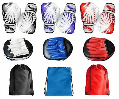 Boxing Gloves and Focus Pads Set Hook & Jabs Mitts Punch Bag MMA Gym Drawstring