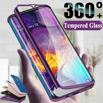 For Samsung Galaxy A20 A30 A50 A70 Full Front & Back Cover Case + Tempered Glass