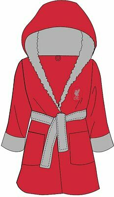 Boys Liverpool Dressing Gown Kids Football Licensed Robe Nightwear Age 3-12 New